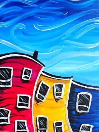 A Windy Downtown Day paint nite project by Yaymaker
