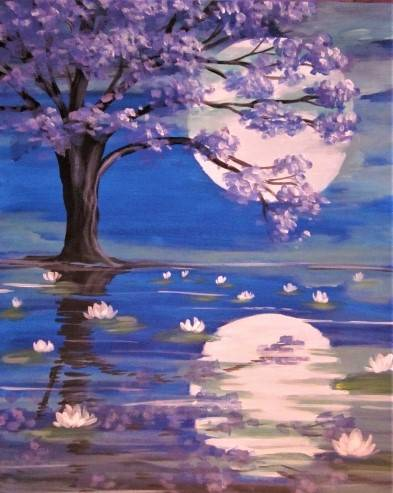 A Lily Pond Under the Moonlight paint nite project by Yaymaker