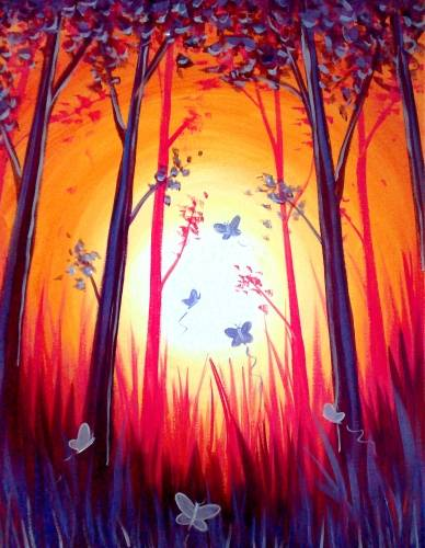 A Butterfly Forest paint nite project by Yaymaker