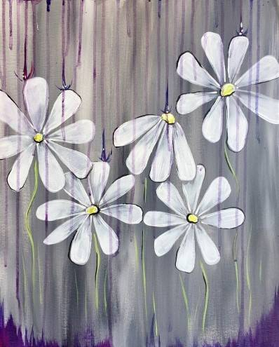 A Spring Showers Bring More Daisy Flowers paint nite project by Yaymaker