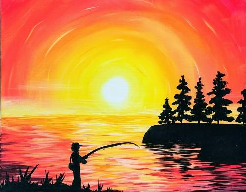 A Sunset Fisherman paint nite project by Yaymaker