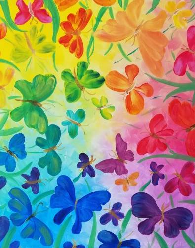 A Rainbow Butterflies II paint nite project by Yaymaker