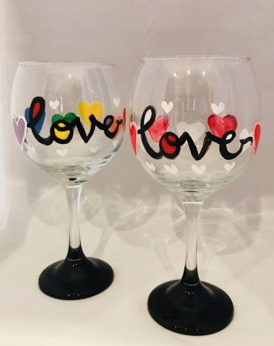A All You Need is Love Wine Glasses paint nite project by Yaymaker