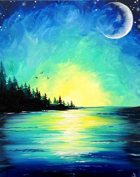 A Sunset Over Pine Lake paint nite project by Yaymaker