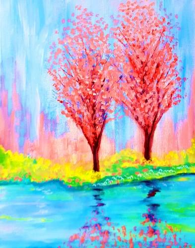A Spring Time Reflections paint nite project by Yaymaker