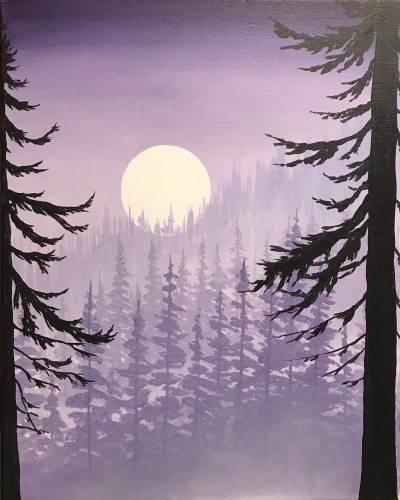 A Lavendar Misty Mountain paint nite project by Yaymaker