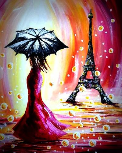 A Paris Umbrella paint nite project by Yaymaker
