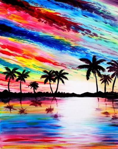 A Tahitian Sunrise paint nite project by Yaymaker