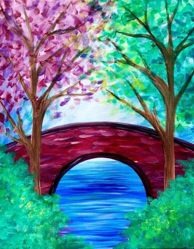 A Park Bridge In Spring paint nite project by Yaymaker