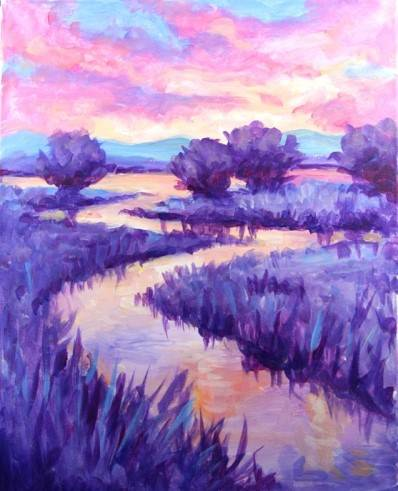 A Lavender Sunset paint nite project by Yaymaker