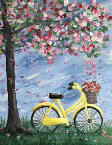 A Bike Under the Sheltering Tree paint nite project by Yaymaker