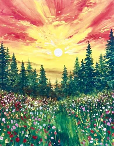 A Wild Sunset paint nite project by Yaymaker