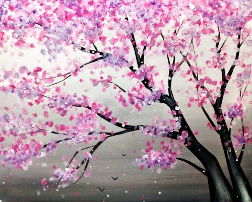A Sky Full of Blossoms paint nite project by Yaymaker