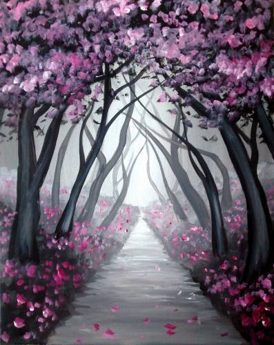 A Path of Cherry Blossoms paint nite project by Yaymaker