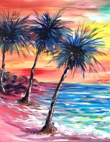 A Pink Sand Paradise paint nite project by Yaymaker