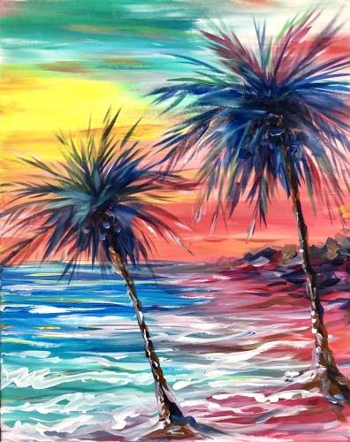 A Pink Sand Paradise II paint nite project by Yaymaker
