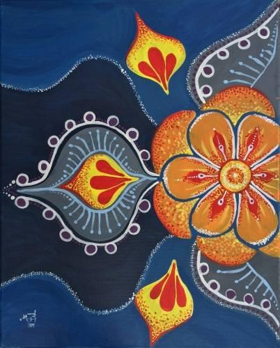 A Boho Orange Blossom paint nite project by Yaymaker