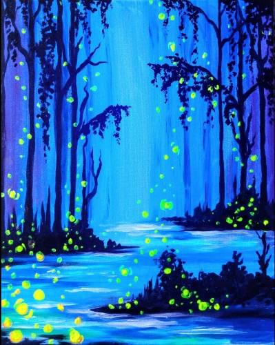 A Enchanted Firefly Forest BLACK LIGHT PAINTING paint nite project by Yaymaker