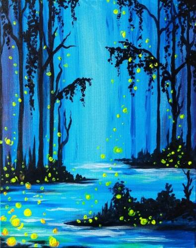 A Mystical Firefly Forest paint nite project by Yaymaker