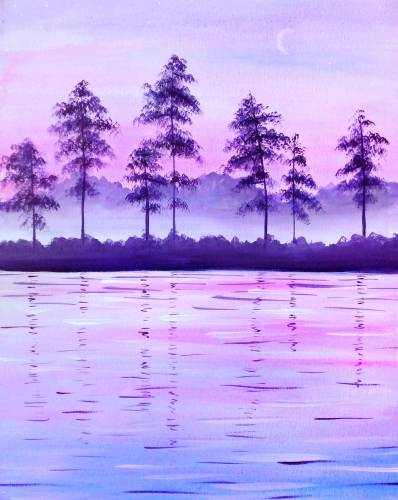 A Misty Lake paint nite project by Yaymaker