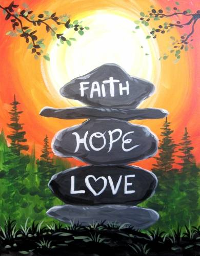 A Faith Hope and Love paint nite project by Yaymaker