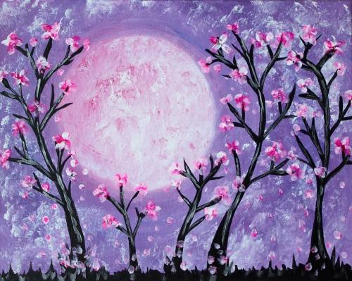 A Blossoms Dancing under the Pink Moon paint nite project by Yaymaker