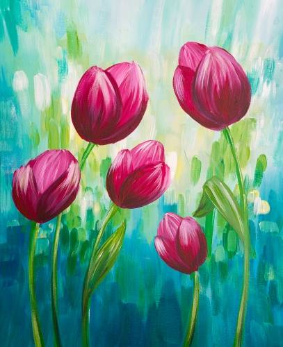 A Springtime Tulips paint nite project by Yaymaker