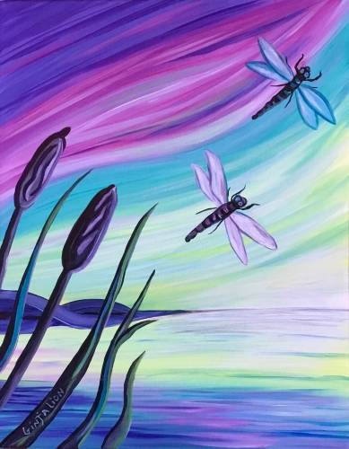 A West Coast Dragonfly Dream paint nite project by Yaymaker