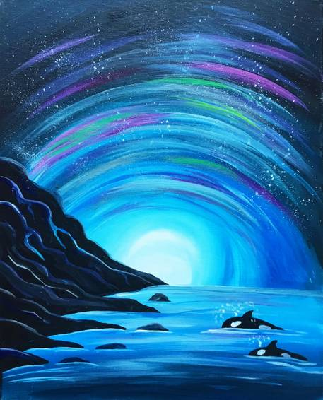 A West Coast Orca Pod paint nite project by Yaymaker