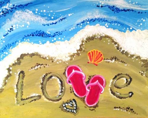 A Flip Flop Beach Love II paint nite project by Yaymaker