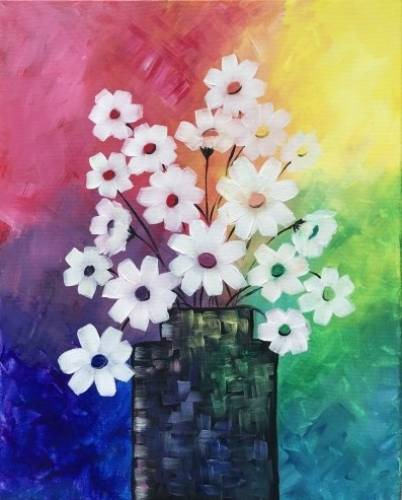 A Rainbow Daisy Bouquet paint nite project by Yaymaker