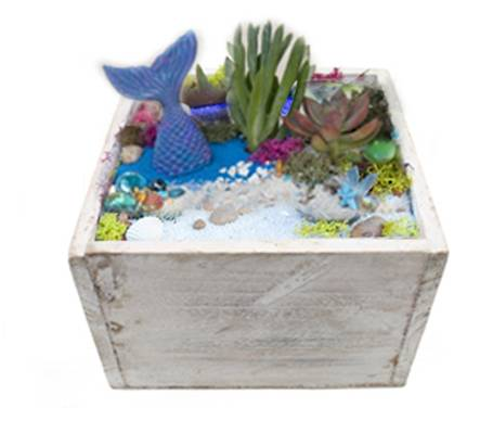 A Mermaid Lagoon Wooden Planter plant nite project by Yaymaker