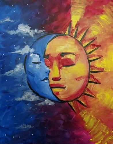 A La Luna y El Sol paint nite project by Yaymaker