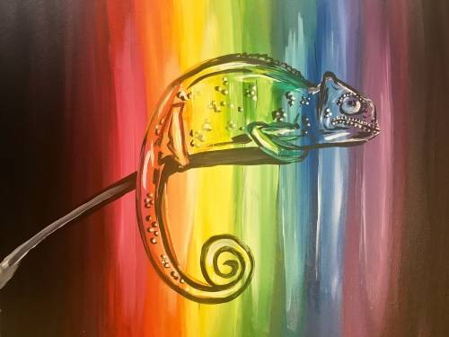 A Colorful Chameleon paint nite project by Yaymaker