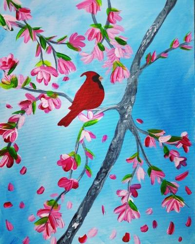 A Spring Cardinal Visit paint nite project by Yaymaker