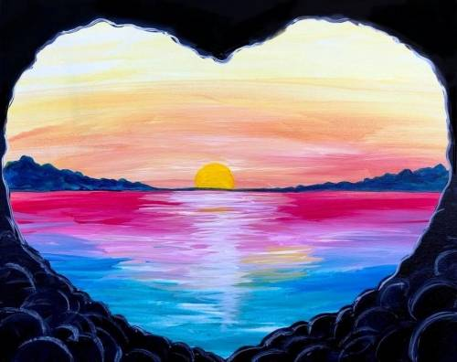 A Sunrise Love Beach paint nite project by Yaymaker