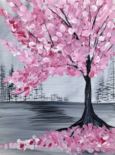 A Pink Cherry Blossom Tree paint nite project by Yaymaker