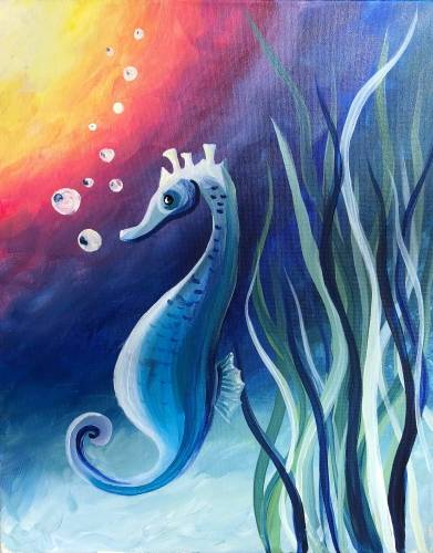 A Rainbow Seahorse paint nite project by Yaymaker