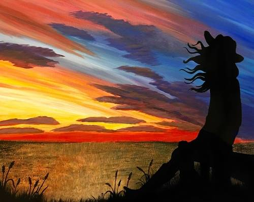 A Cowgirl Sunset paint nite project by Yaymaker