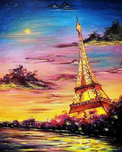 A Glowing Paris Sunset paint nite project by Yaymaker