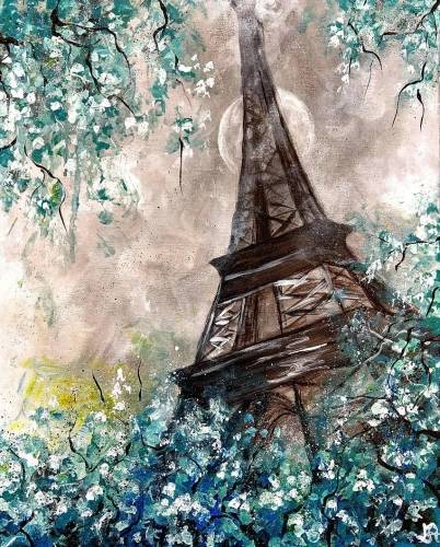 A Teal Moonlit Paris paint nite project by Yaymaker