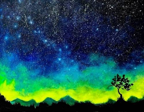 A Desert Starry Lone Tree paint nite project by Yaymaker