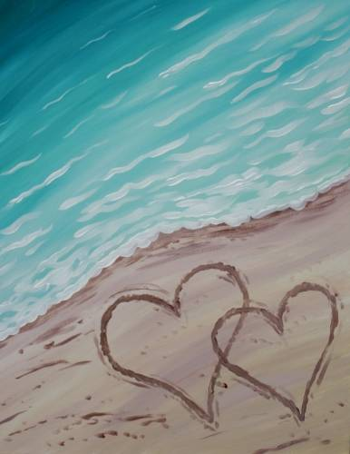 A Two hearts in the sand paint nite project by Yaymaker