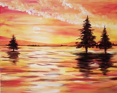 A Orange Sunrise in New Brunswick paint nite project by Yaymaker