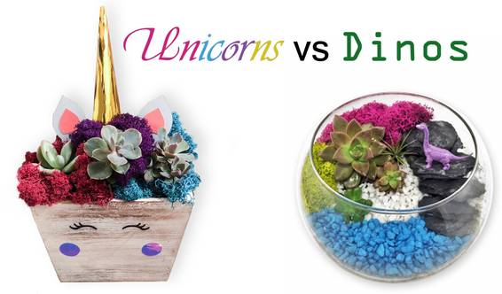 A Unicorns vs Dinos  You Choose the Theme plant nite project by Yaymaker