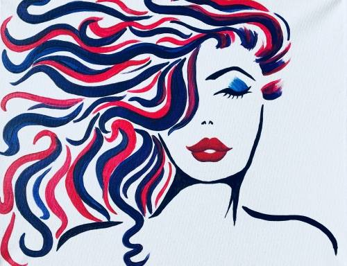 A Wind in My Hair paint nite project by Yaymaker