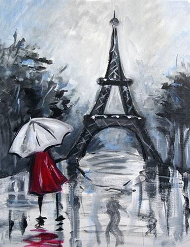 A Rainy Paris Stroll paint nite project by Yaymaker