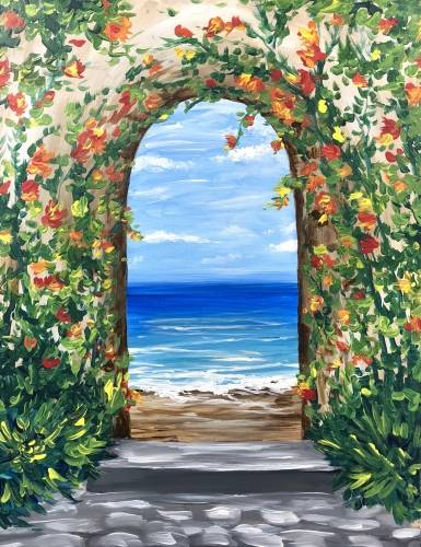 A Tropical Ocean Arch paint nite project by Yaymaker