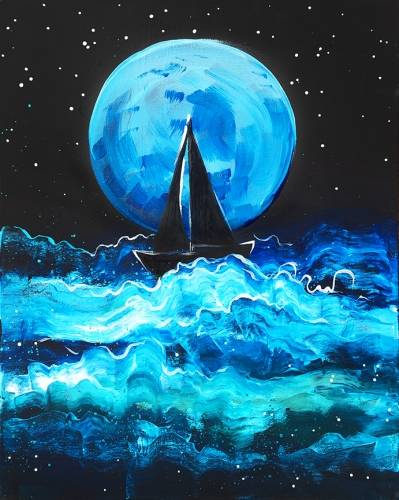 A Moonlight Sea paint nite project by Yaymaker