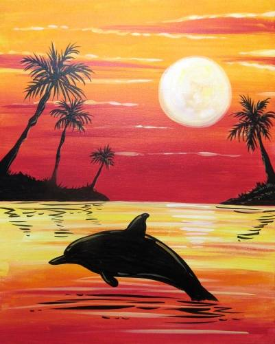 A Happy Sunset Dolphin paint nite project by Yaymaker